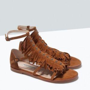 Zara Fringe Studded T Strap Leather Sandals Suede